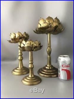 Vtg MID Century Feldman Co. Brass Lotus Blossom Flower Candle Holder Set