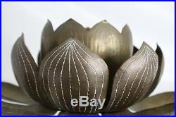 Vtg Mid Century Modern Brass Lotus Hollywood Regency Candle Holder Feldman Japan