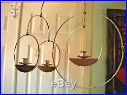 Vtg Mid Century Modern Brass Teak Wood Hanging Candle Holder Geometric Circle