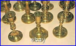 Vtg Mixed Lot 21 BRASS Candlestick Holders Candles Some Va Metalcrafters