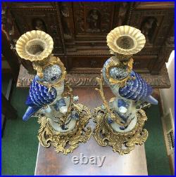 Vtg. Pair Large Hollywood Regency Ceramic Blue Parrot Bird Brass Candleholders