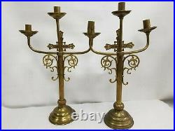 Vtg Pair Ornate Brass Candlestick Candelabra Gothic Church Altar Religious