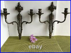 Vtg Pair of Brass Wall Sconces Candle Holders Neo-Classical Style Italy 13 1/4 H