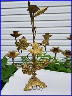 Vtg Two Antique Altar Church Pair Gilt Brass Candelabra W Grapes Wheat Leafs Old