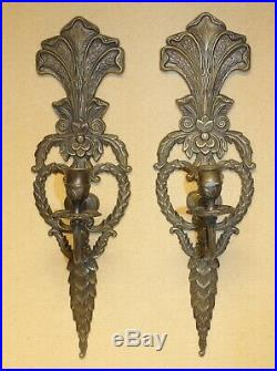 Vtg. Victorian Brass Metal/Art Candle Holders Wall Sconces 16 3/4 x 5
