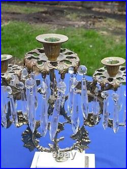 Vtg Victorian Style Brass 5 Candle Holder Vine Flower Marble Base Glass Prisms