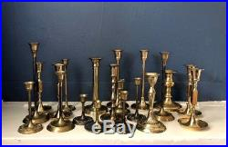 WOW! Lot Of 20 Vintage Brass Candlestick Holders Wedding Party Home Decor Patina