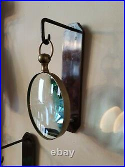 Wall Mount Candle Sconce With Hanging Magnifying Glass BRASS ANTIQUE 12 4504