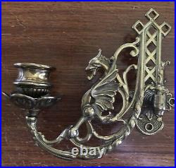 Wall Sconce Griffin Piano Candleholders, Pair Antique Solid Brass Victorian
