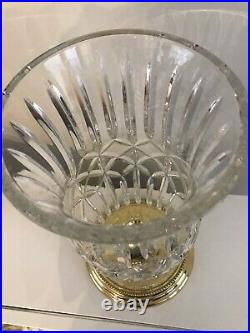 Waterford Cut Crystal Hurricane Lamp Brass Base Candle Holder Prescott