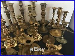 Wedding Party Vintage Brass Candlesticks Candle Stick Holders Lot Of 33