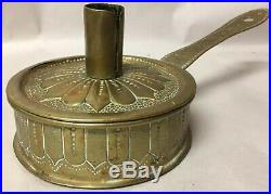 Wonderful Antique Primitive 18th C Hammered Brass Candle Holder Box, Dated 1702