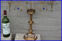 XL French religious church altar brass Candelabra Candle holder glass stones